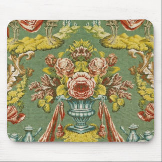 Textile with a repeating floral motif mouse pad