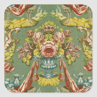 Textile with a repeating floral motif square sticker