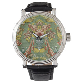 Textile with a repeating floral motif wrist watch