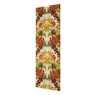 Textile with a repeating floral pattern canvas print