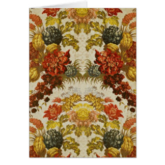 Textile with a repeating floral pattern card