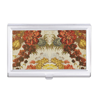 Textile with a repeating floral pattern case for business cards