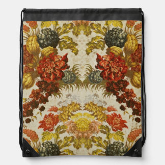 Textile with a repeating floral pattern drawstring backpack