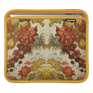 Textile with a repeating floral pattern iPad sleeve