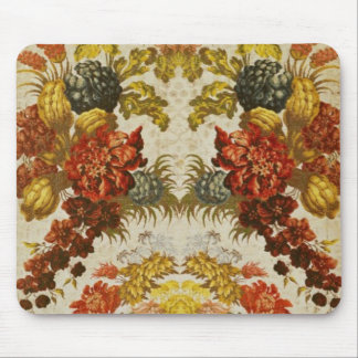 Textile with a repeating floral pattern mouse pad