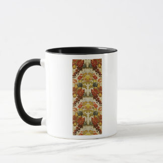 Textile with a repeating floral pattern mug
