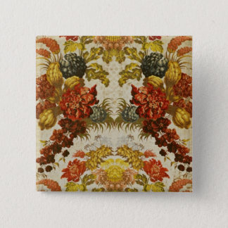 Textile with a repeating floral pattern pinback button