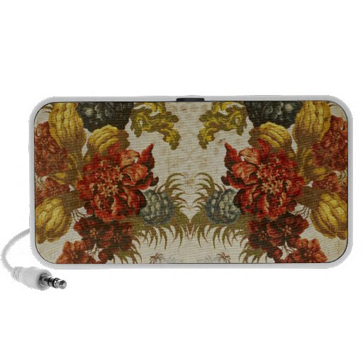 Textile with a repeating floral pattern portable speaker