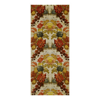 Textile with a repeating floral pattern poster