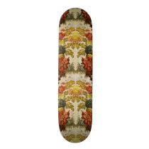 Textile with a repeating floral pattern skateboard