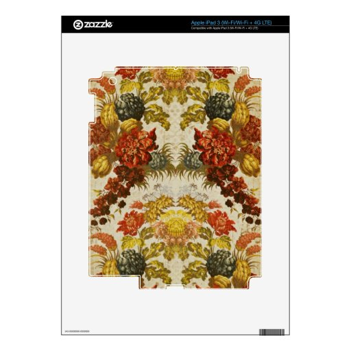 Textile with a repeating floral pattern skins for iPad 3