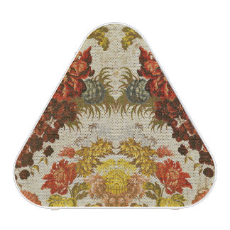 Textile with a repeating floral pattern speaker