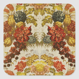 Textile with a repeating floral pattern square sticker