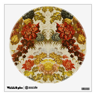 Textile with a repeating floral pattern wall decal