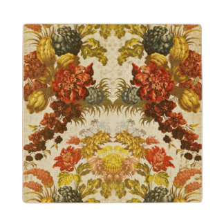 Textile with a repeating floral pattern wood coaster