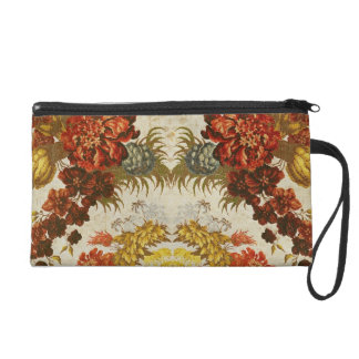 Textile with a repeating floral pattern wristlet