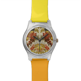 Textile with a repeating floral pattern wristwatch