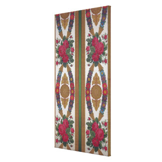 Textile with garlands of daisies canvas print