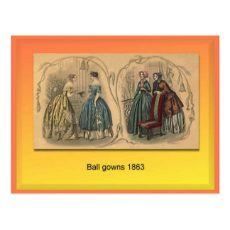 Textiles, Fashion, Ball gowns, 1863 Postcard