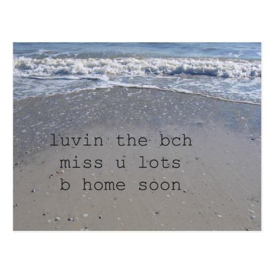 Texting Beach Postcard