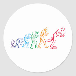 Texting Evolution colors Classic Round Sticker