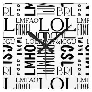Texting laughs square wall clock