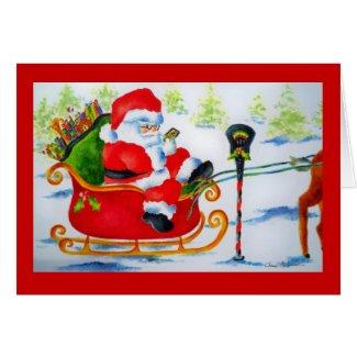 Texting Santa Claus Card