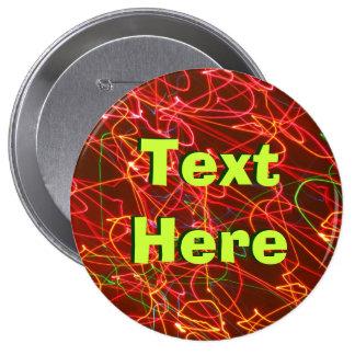 Texto abstracto aquí pin redondo de 4 pulgadas