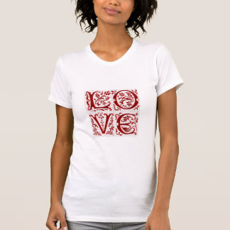 Texto adornado del amor en rojo camisetas