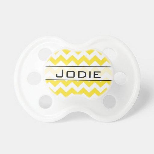 Texto amarillo del personalizado de los galones chupetes para bebes