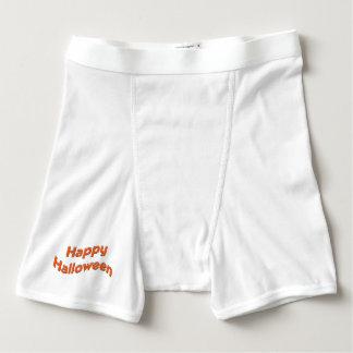 Texto anaranjado llano del feliz Halloween Boxers