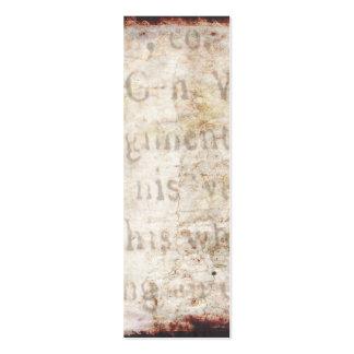 Texto antiguo de los 1700s del vintage en el papel tarjetas de visita mini