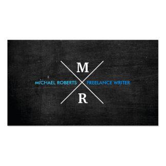 Texto azul del MONOGRAMA RÚSTICO MODERNO y madera