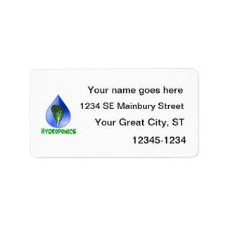 Texto azul del verde de la gota de la lechuga de etiqueta de dirección