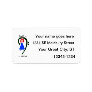 Texto azul femenino rojo del clef bajo n del verde etiquetas de dirección