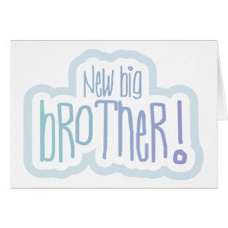 Texto azul nuevo hermano mayor tarjeta de felicitación