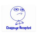 Texto azul y blanco aceptado desafío tarjetas postales