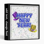 Texto azul y blanco de la Feliz Año Nuevo