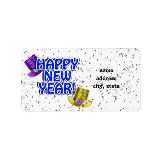 Texto azul y blanco de la Feliz Año Nuevo Etiqueta De Dirección