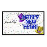 Texto azul y blanco de la Feliz Año Nuevo Tarjetas De Visita