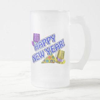Texto azul y blanco de la Feliz Año Nuevo Taza
