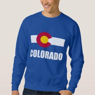 Texto blanco de la bandera de Colorado en azul Pulover Sudadera