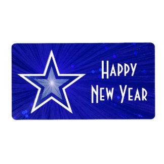 Texto blanco grande azul marino de la Feliz Año Nu Etiqueta De Envío