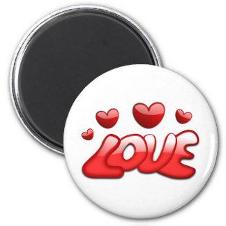 Texto brillante rojo de los corazones burbujeantes imán redondo 5 cm