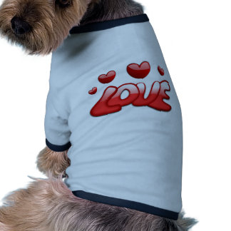 Texto brillante rojo de los corazones burbujeantes camisetas de mascota