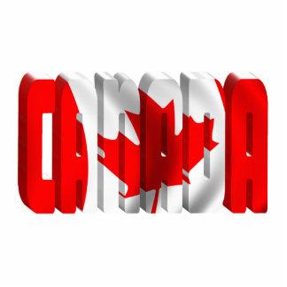 Texto canadiense de la bandera de CANADÁ Fotoescultura Vertical
