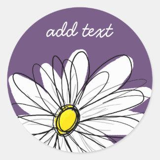 Texto caprichoso púrpura y amarillo del pegatina redonda
