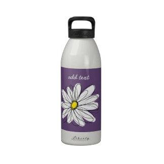 Texto caprichoso púrpura y amarillo del personaliz botella de agua reutilizable