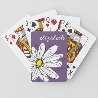 Texto caprichoso púrpura y amarillo del personaliz barajas de cartas