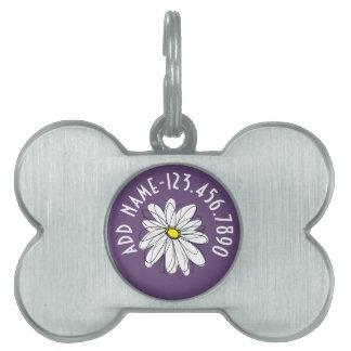 Texto caprichoso púrpura y amarillo del personaliz placas de nombre de mascota